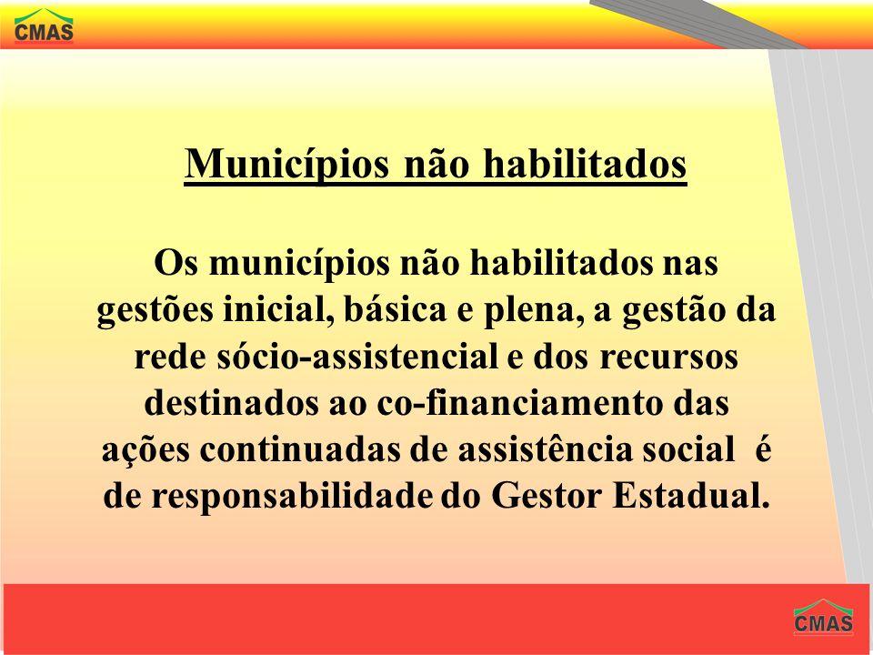 Gestão Inicial – para aqueles municípios que não se habilitarem a gestão plena ou básica, receberão recursos da União, conforme série histórica, trans