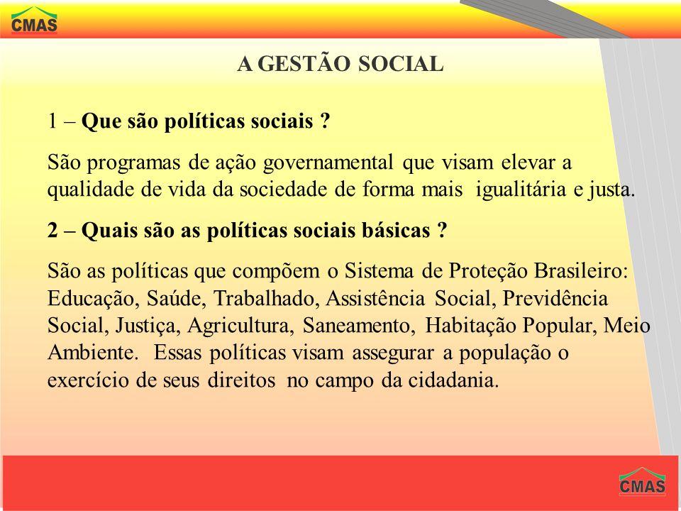 A GESTÃO SOCIAL 1 – Que são políticas sociais .