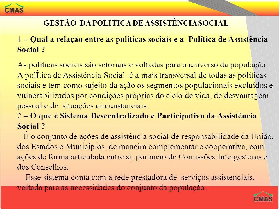 GESTÃO DA POLÍTICA DE ASSISTÊNCIA SOCIAL 1 – Qual a relação entre as políticas sociais e a Política de Assistência Social .