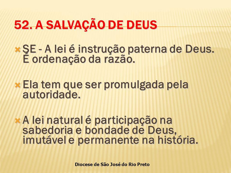 Diocese de São José do Rio Preto 52.A SALVAÇÃO DE DEUS  SE - A lei é instrução paterna de Deus.
