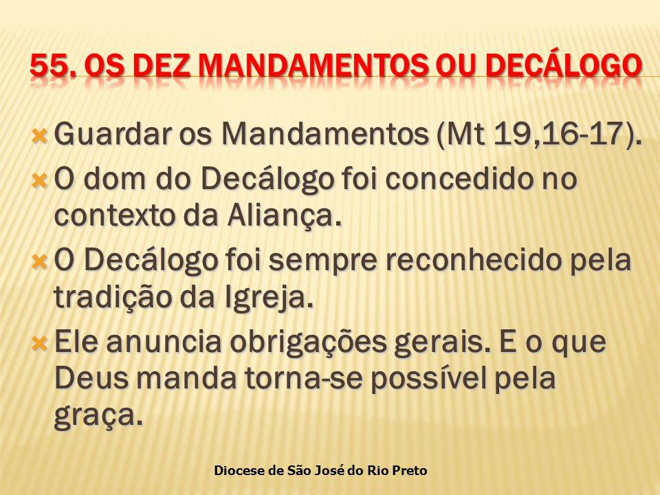 Diocese de São José do Rio Preto  Guardar os Mandamentos (Mt 19,16-17).
