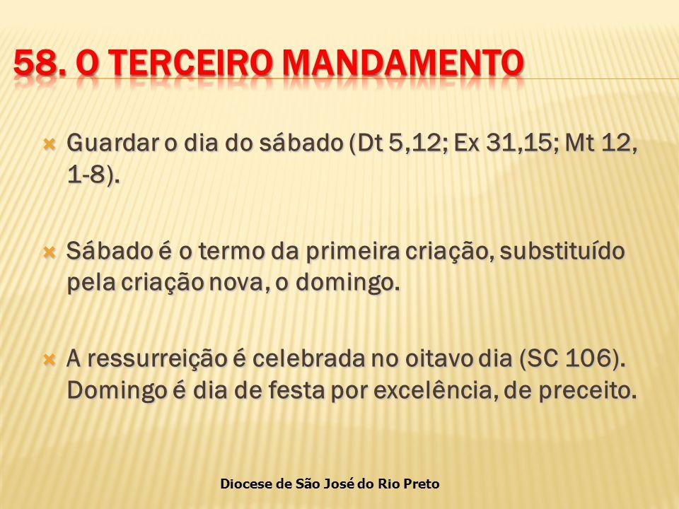 Diocese de São José do Rio Preto  Guardar o dia do sábado (Dt 5,12; Ex 31,15; Mt 12, 1-8).