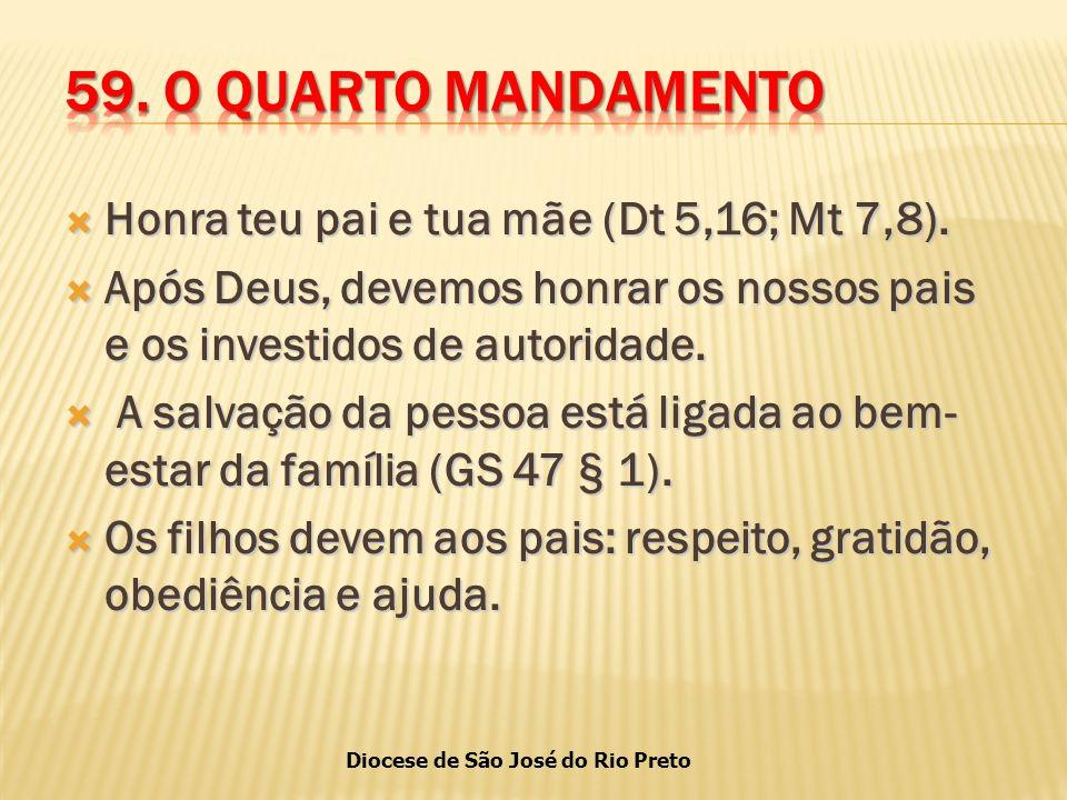 Diocese de São José do Rio Preto  Honra teu pai e tua mãe (Dt 5,16; Mt 7,8).