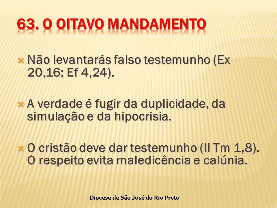Diocese de São José do Rio Preto  Não levantarás falso testemunho (Ex 20,16; Ef 4,24).