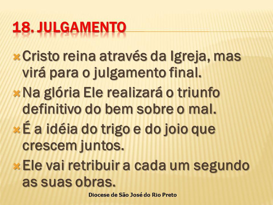 Diocese de São José do Rio Preto  Cristo reina através da Igreja, mas virá para o julgamento final.