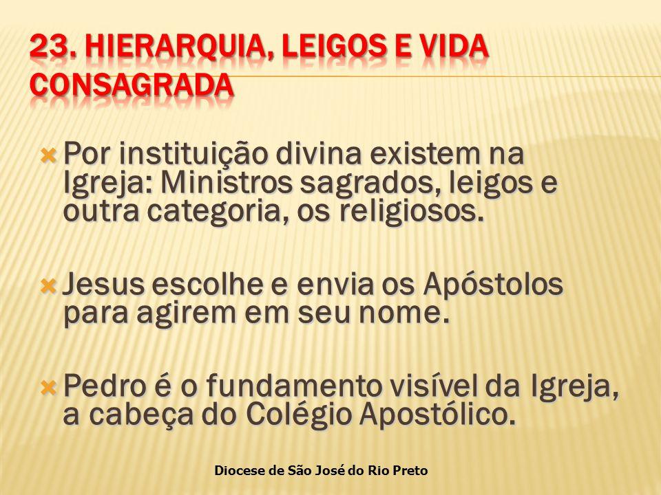 Diocese de São José do Rio Preto  Por instituição divina existem na Igreja: Ministros sagrados, leigos e outra categoria, os religiosos.
