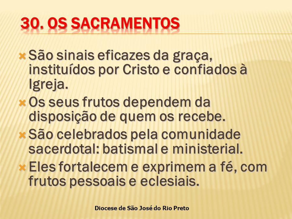 Diocese de São José do Rio Preto  São sinais eficazes da graça, instituídos por Cristo e confiados à Igreja.