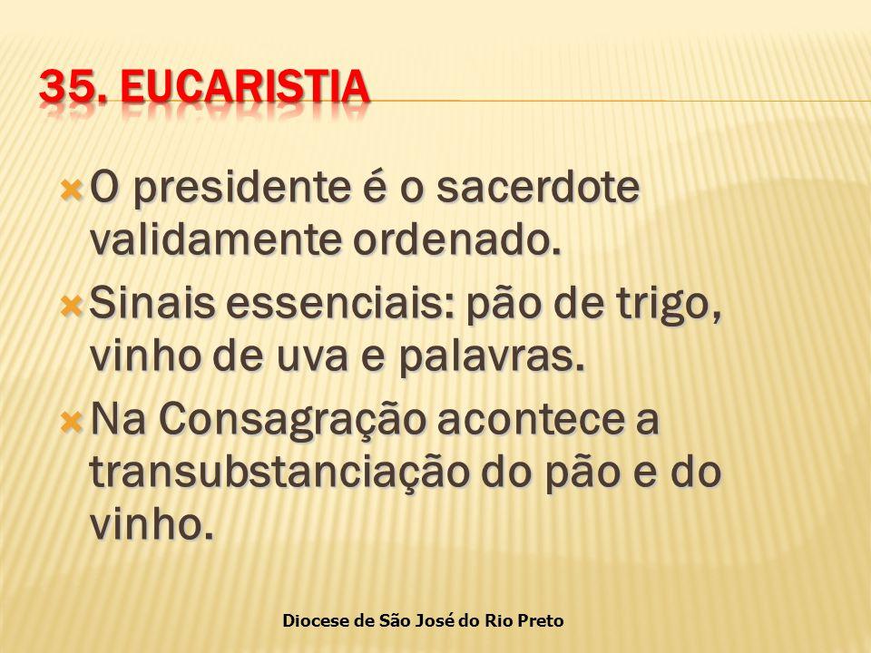 Diocese de São José do Rio Preto  O presidente é o sacerdote validamente ordenado.