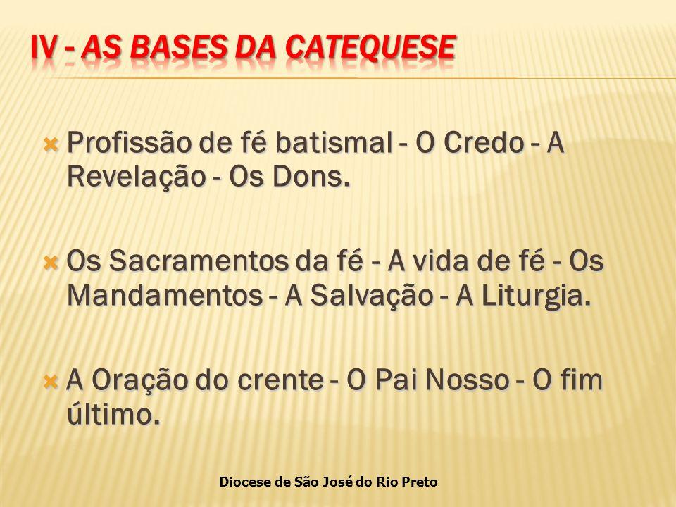 Diocese de São José do Rio Preto  Profissão de fé batismal - O Credo - A Revelação - Os Dons.