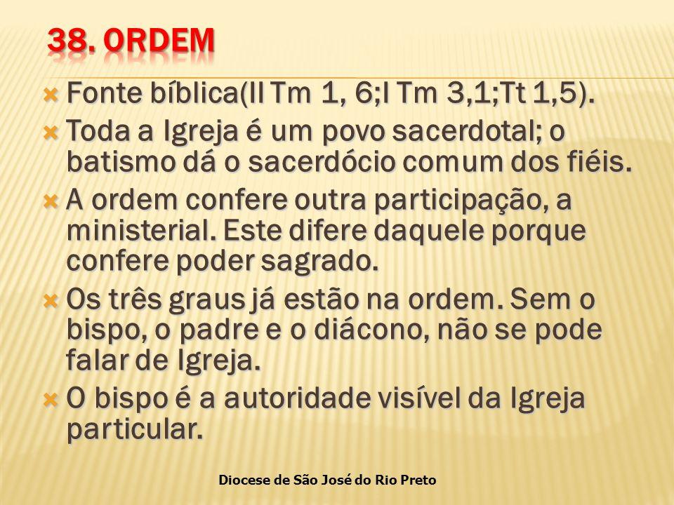 Diocese de São José do Rio Preto  Fonte bíblica(II Tm 1, 6;I Tm 3,1;Tt 1,5).