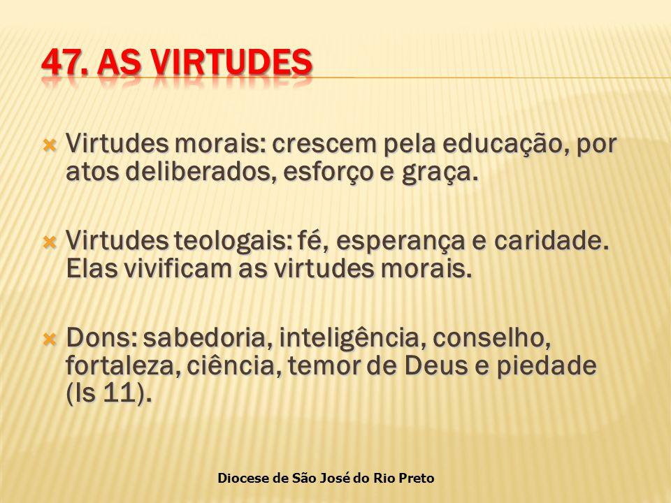 Diocese de São José do Rio Preto  Virtudes morais: crescem pela educação, por atos deliberados, esforço e graça.