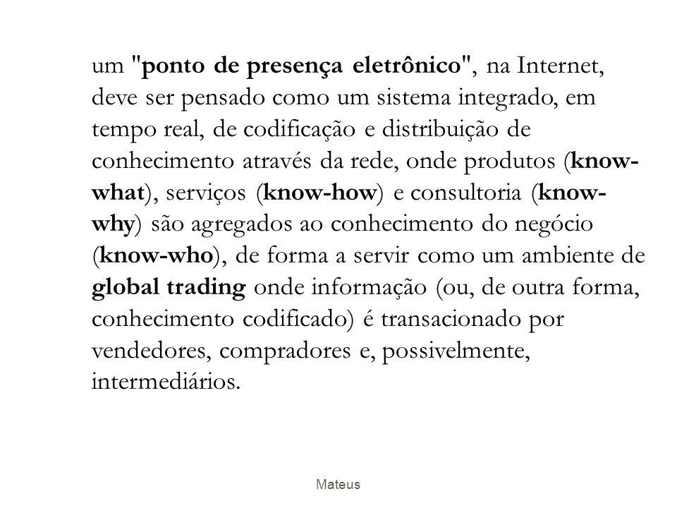 Mateus  Know-what, que se refere ao conhecimento sobre fatos.