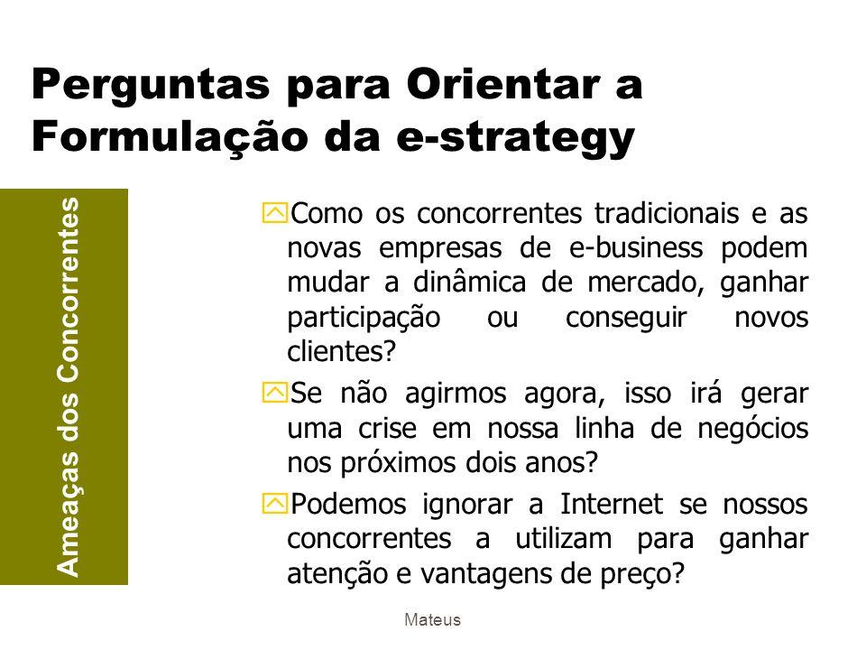 Mateus Perguntas para Orientar a Formulação da e-strategy yO que já estamos fazendo na Internet e como as nossas atividades se alinham com as necessidades dos clientes.