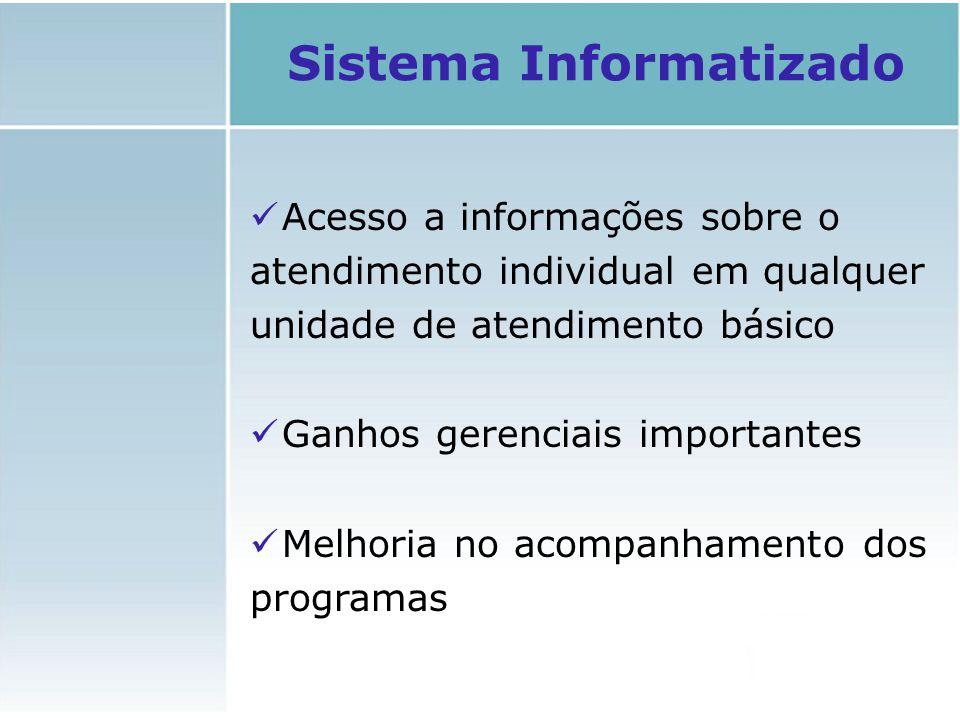 Acesso a informações sobre o atendimento individual em qualquer unidade de atendimento básico Ganhos gerenciais importantes Melhoria no acompanhamento
