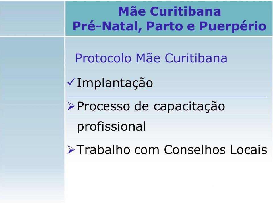 Protocolo Mãe Curitibana Implantação  Processo de capacitação profissional  Trabalho com Conselhos Locais Mãe Curitibana Pré-Natal, Parto e Puerpéri