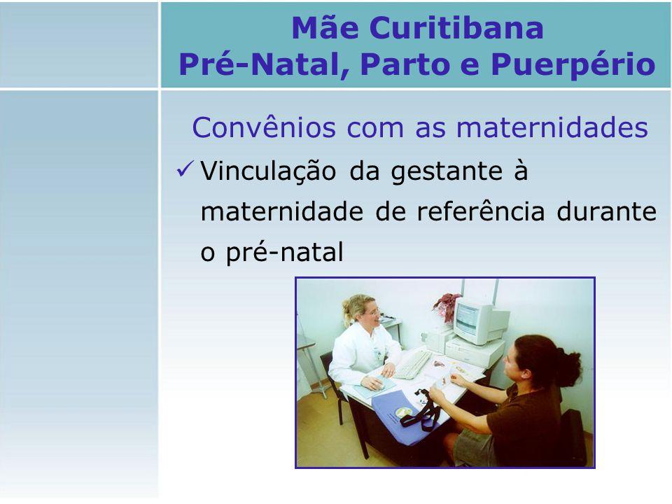 Convênios com as maternidades Vinculação da gestante à maternidade de referência durante o pré-natal Mãe Curitibana Pré-Natal, Parto e Puerpério