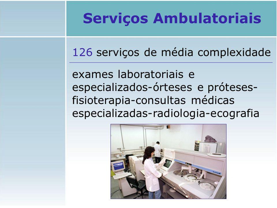 126 serviços de média complexidade exames laboratoriais e especializados-órteses e próteses- fisioterapia-consultas médicas especializadas-radiologia-