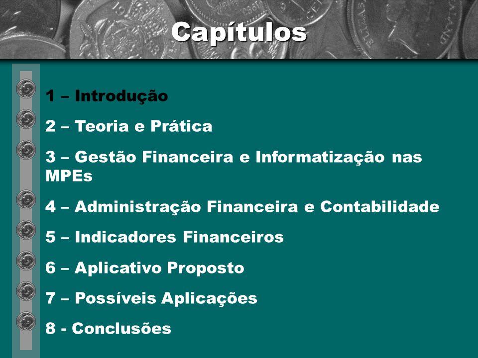Capítulos 1 – Introdução 2 – Teoria e Prática 3 – Gestão Financeira e Informatização nas MPEs (*) 4 – Administração Financeira e Contabilidade 5 – Indicadores Financeiros 6 – Aplicativo Proposto 7 – Possíveis Aplicações 8 - Conclusões