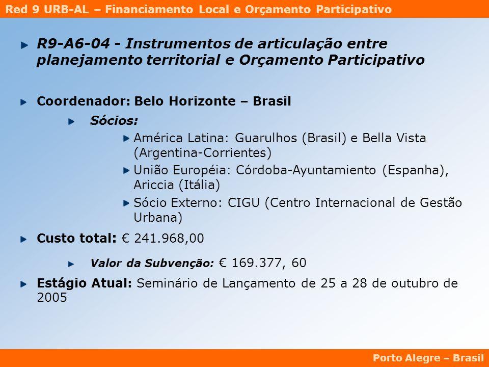Red 9 URB-AL – Financiamento Local e Orçamento Participativo Porto Alegre – Brasil R9-A6-04 - Instrumentos de articulação entre planejamento territorial e Orçamento Participativo Coordenador: Belo Horizonte – Brasil Sócios: América Latina: Guarulhos (Brasil) e Bella Vista (Argentina-Corrientes) União Européia: Córdoba-Ayuntamiento (Espanha), Ariccia (Itália) Sócio Externo: CIGU (Centro Internacional de Gestão Urbana) Custo total : € 241.968,00 Valor da Subvenção: € 169.377, 60 Estágio Atual: Seminário de Lançamento de 25 a 28 de outubro de 2005