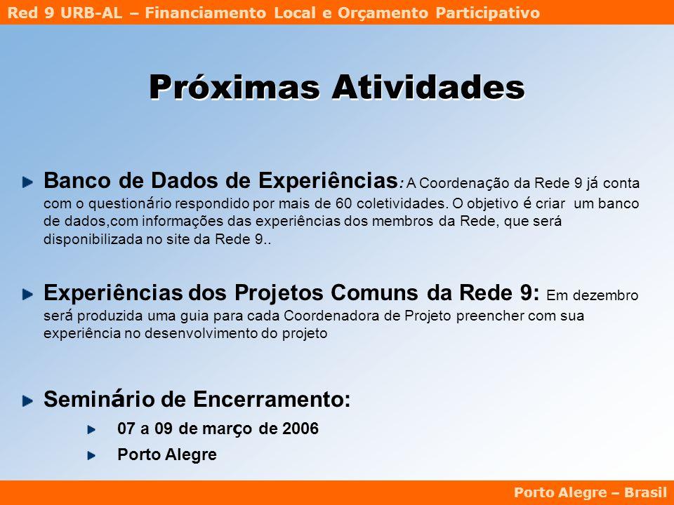 Red 9 URB-AL – Financiamento Local e Orçamento Participativo Porto Alegre – Brasil Próximas Atividades Banco de Dados de Experiências : A Coordena ç ão da Rede 9 j á conta com o question á rio respondido por mais de 60 coletividades.