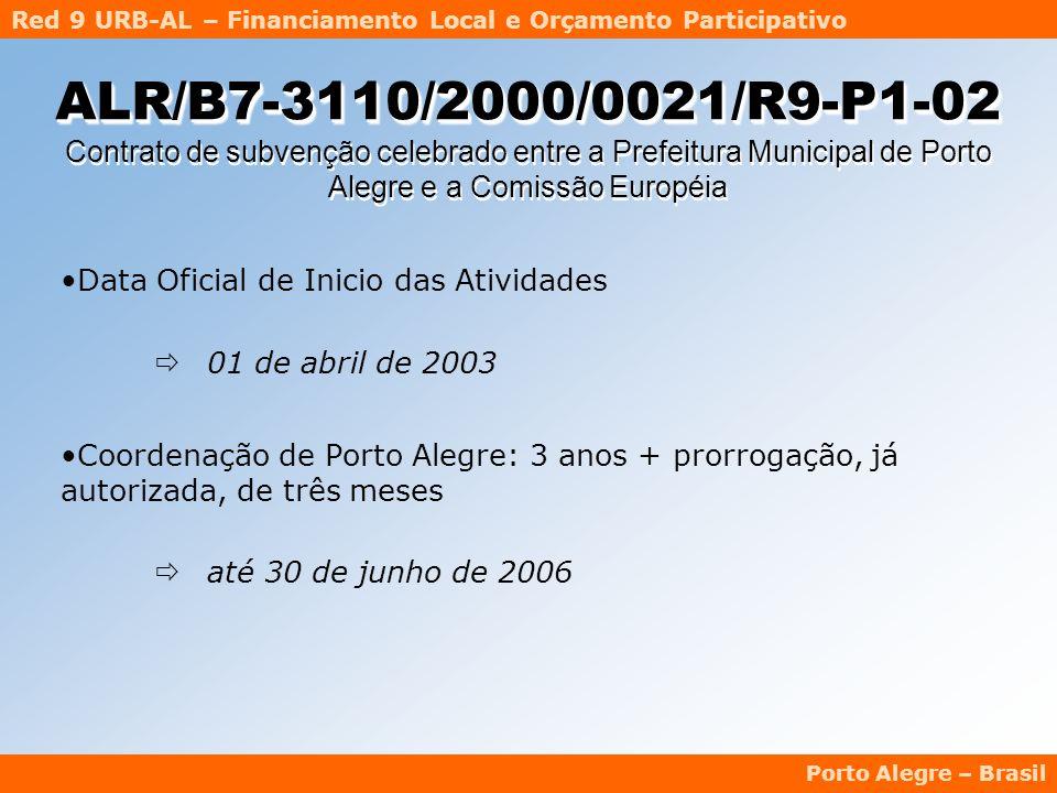 Red 9 URB-AL – Financiamento Local e Orçamento Participativo Porto Alegre – Brasil ALR/B7-3110/2000/0021/R9-P1-02 ALR/B7-3110/2000/0021/R9-P1-02 Contrato de subvenção celebrado entre a Prefeitura Municipal de Porto Alegre e a Comissão Européia Data Oficial de Inicio das Atividades  01 de abril de 2003 Coordenação de Porto Alegre: 3 anos + prorrogação, já autorizada, de três meses  até 30 de junho de 2006
