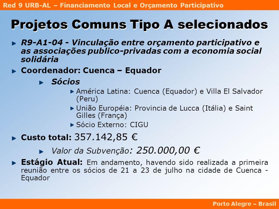 Red 9 URB-AL – Financiamento Local e Orçamento Participativo Porto Alegre – Brasil R9-A1-04 - Vinculação entre orçamento participativo e as associações publico-privadas com a economia social solidária Coordenador: Cuenca – Equador Sócios América Latina: Cuenca (Equador) e Villa El Salvador (Peru) União Européia: Provincia de Lucca (Itália) e Saint Gilles (França) Sócio Externo: CIGU Custo total: 357.142,85 € Valor da Subvenção : 250.000,00 € Estágio Atual: Em andamento, havendo sido realizada a primeira reunião entre os sócios de 21 a 23 de julho na cidade de Cuenca - Equador Projetos Comuns Tipo A selecionados