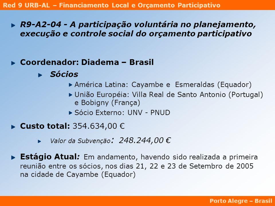 Red 9 URB-AL – Financiamento Local e Orçamento Participativo Porto Alegre – Brasil R9-A2-04 - A participação voluntária no planejamento, execução e controle social do orçamento participativo Coordenador: Diadema – Brasil Sócios América Latina: Cayambe e Esmeraldas (Equador) União Européia: Villa Real de Santo Antonio (Portugal) e Bobigny (França) Sócio Externo: UNV - PNUD Custo total: 354.634,00 € Valor da Subvenção : 248.244,00 € Estágio Atual: Em andamento, havendo sido realizada a primeira reunião entre os sócios, nos dias 21, 22 e 23 de Setembro de 2005 na cidade de Cayambe (Equador)