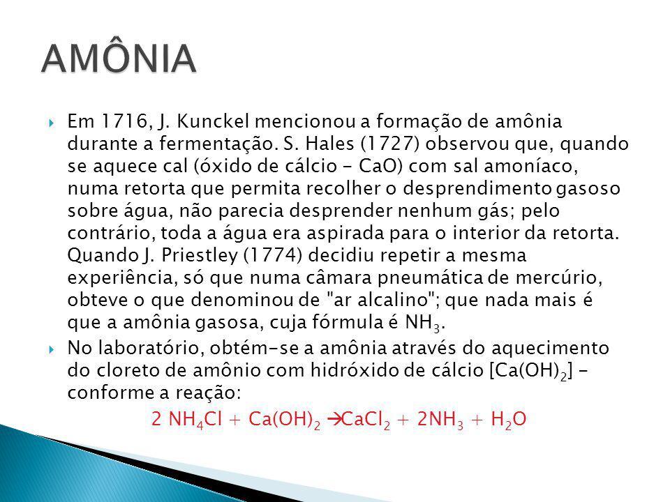  Em 1716, J. Kunckel mencionou a formação de amônia durante a fermentação. S. Hales (1727) observou que, quando se aquece cal (óxido de cálcio - CaO)