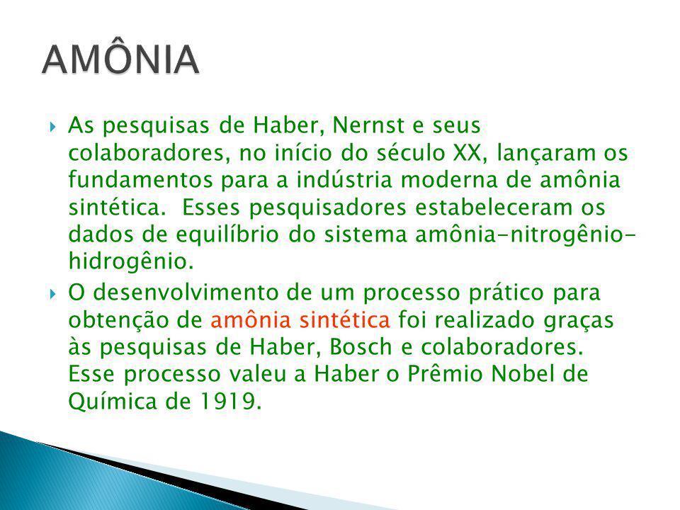  As pesquisas de Haber, Nernst e seus colaboradores, no início do século XX, lançaram os fundamentos para a indústria moderna de amônia sintética. Es