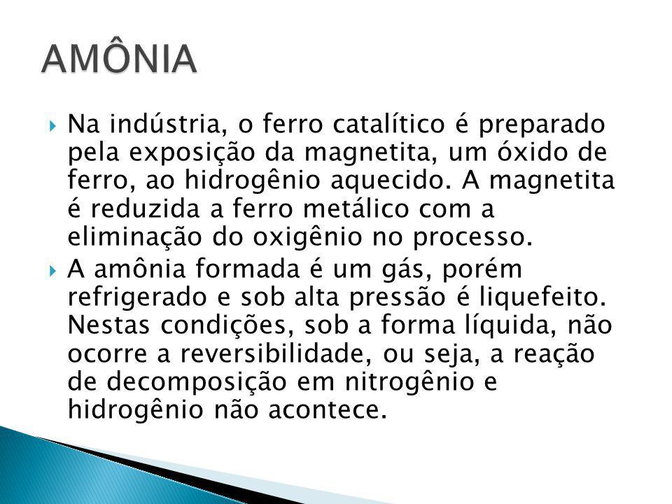  Na indústria, o ferro catalítico é preparado pela exposição da magnetita, um óxido de ferro, ao hidrogênio aquecido. A magnetita é reduzida a ferro