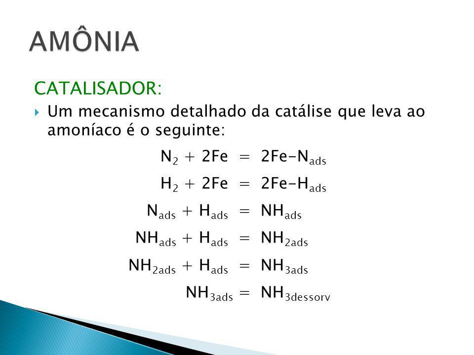 CATALISADOR:  Um mecanismo detalhado da catálise que leva ao amoníaco é o seguinte: N 2 + 2Fe =2Fe-N ads H 2 + 2Fe =2Fe-H ads N ads + H ads =NH ads N