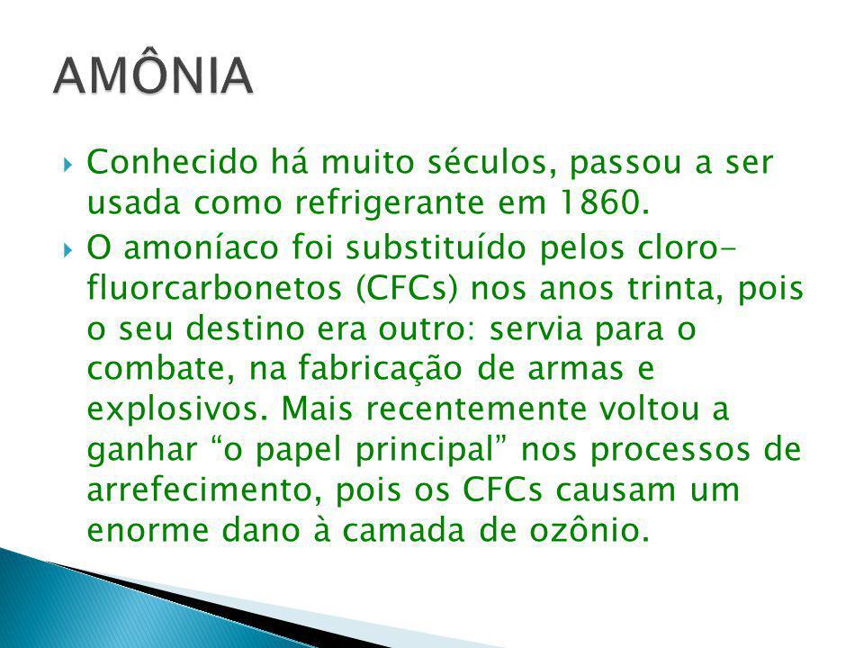  Conhecido há muito séculos, passou a ser usada como refrigerante em 1860.  O amoníaco foi substituído pelos cloro- fluorcarbonetos (CFCs) nos anos