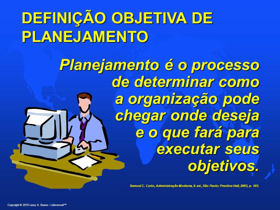 DEFINIÇÃO OBJETIVA DE PLANEJAMENTO Planejamento é o processo de determinar como de determinar como a organização pode a organização pode chegar onde deseja e o que fará para e o que fará para executar seus executar seus objetivos.