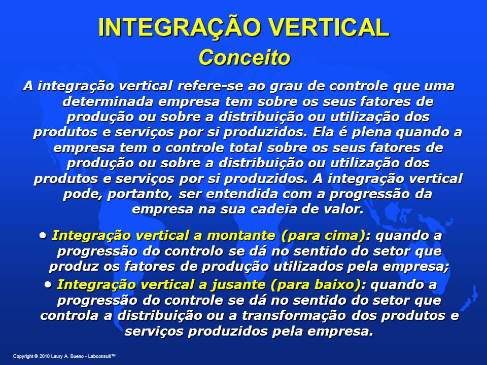 INTEGRAÇÃO VERTICAL Conceito A integração vertical refere-se ao grau de controle que uma determinada empresa tem sobre os seus fatores de produção ou sobre a distribuição ou utilização dos produtos e serviços por si produzidos.