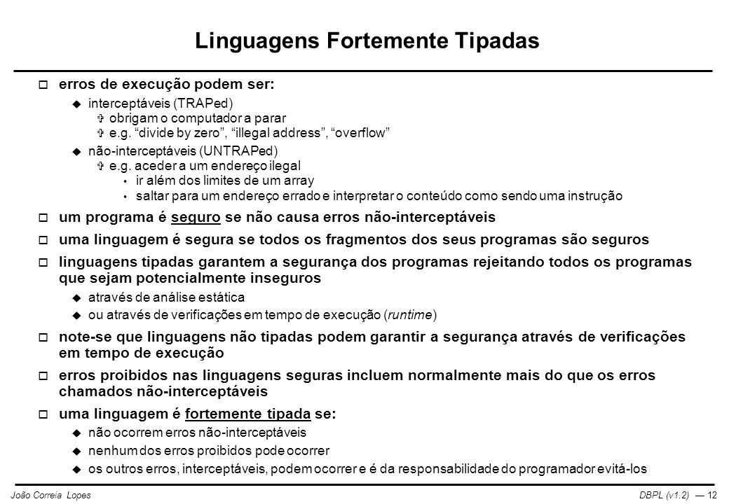 DBPL (v1.2) — 12João Correia Lopes Linguagens Fortemente Tipadas  erros de execução podem ser:  interceptáveis (TRAPed)  obrigam o computador a parar  e.g.