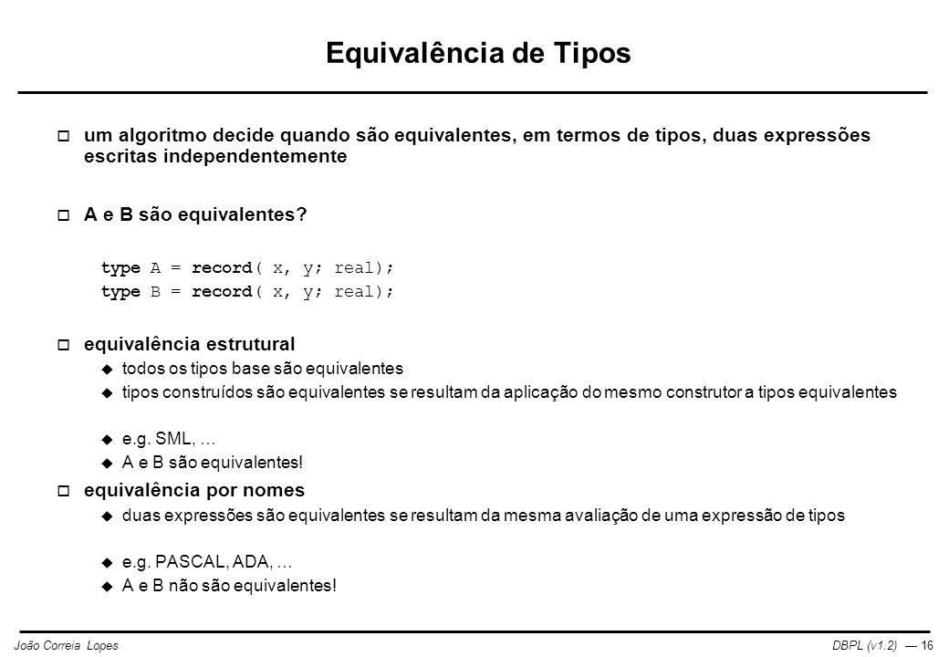 DBPL (v1.2) — 16João Correia Lopes Equivalência de Tipos  um algoritmo decide quando são equivalentes, em termos de tipos, duas expressões escritas independentemente  A e B são equivalentes.