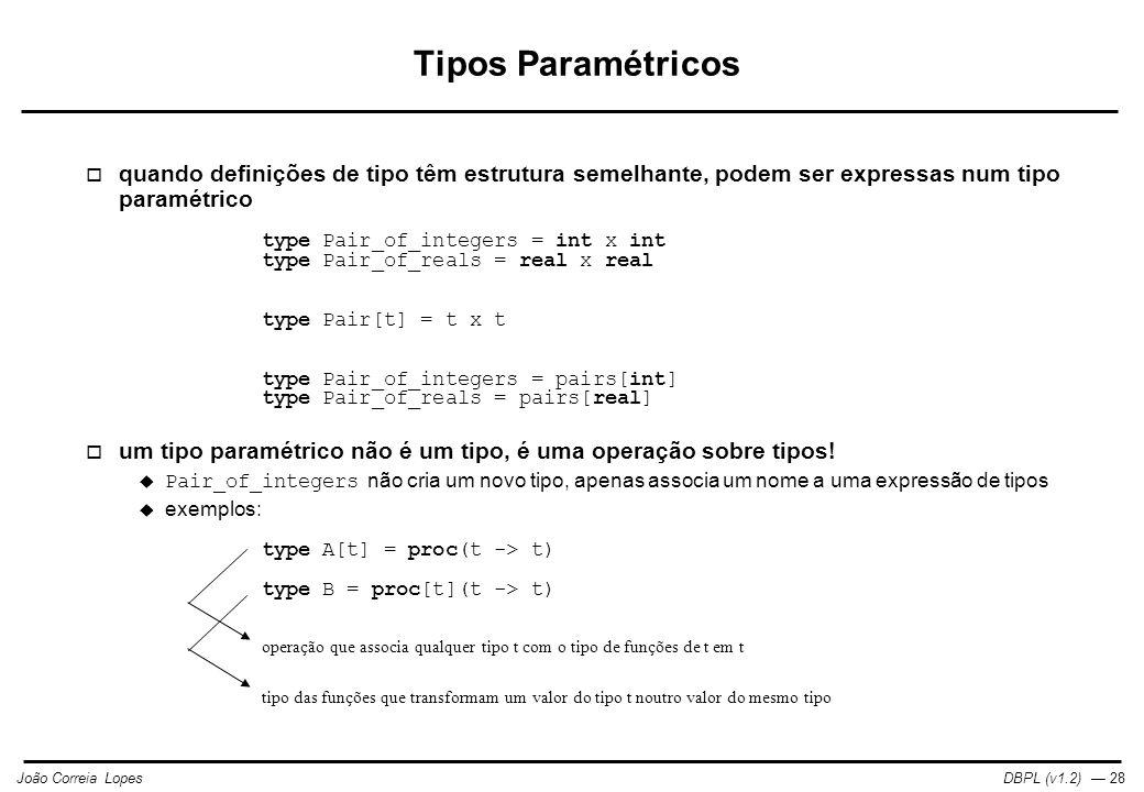 DBPL (v1.2) — 28João Correia Lopes Tipos Paramétricos  quando definições de tipo têm estrutura semelhante, podem ser expressas num tipo paramétrico type Pair_of_integers = int x int type Pair_of_reals = real x real type Pair[t] = t x t type Pair_of_integers = pairs[int] type Pair_of_reals = pairs[real]  um tipo paramétrico não é um tipo, é uma operação sobre tipos.