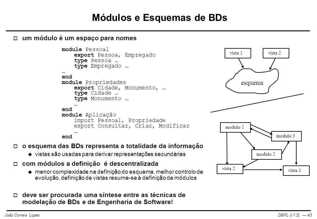 DBPL (v1.2) — 43João Correia Lopes esquema modulo 2 vista 1 vista 2 modulo 1 modulo 3 vista 2 Módulos e Esquemas de BDs  um módulo é um espaço para nomes module Pessoal export Pessoa, Empregado type Pessoa … type Empregado … … end module Propriedades export Cidade, Monumento, … type Cidade … type Monumento … … end module Aplicação import Pessoal, Propriedade export Consultar, Criar, Modificar … end  o esquema das BDs representa a totalidade da informação  vistas são usadas para derivar representações secundárias  com módulos a definição é descentralizada  menor complexidade na definição do esquema, melhor controlo de evolução, definição de vistas resume-se à definição de módulos  deve ser procurada uma síntese entre as técnicas de modelação de BDs e de Engenharia de Software!