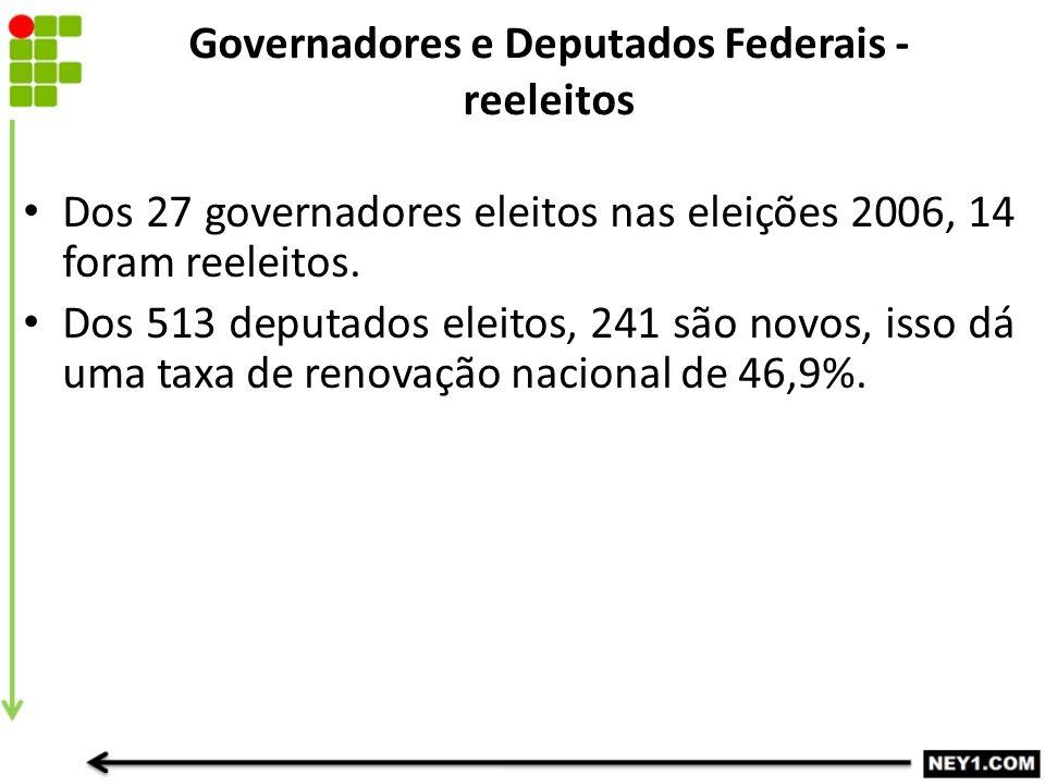 Governadores e Deputados Federais - reeleitos Dos 27 governadores eleitos nas eleições 2006, 14 foram reeleitos.