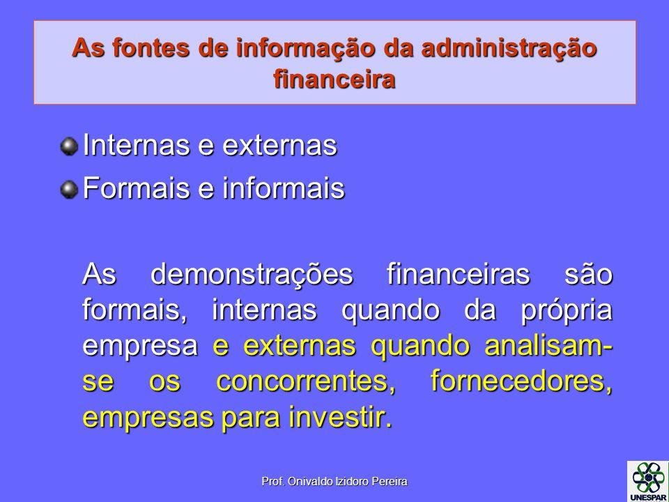 As fontes de informação da administração financeira Internas e externas Formais e informais As demonstrações financeiras são formais, internas quando da própria empresa e externas quando analisam- se os concorrentes, fornecedores, empresas para investir.
