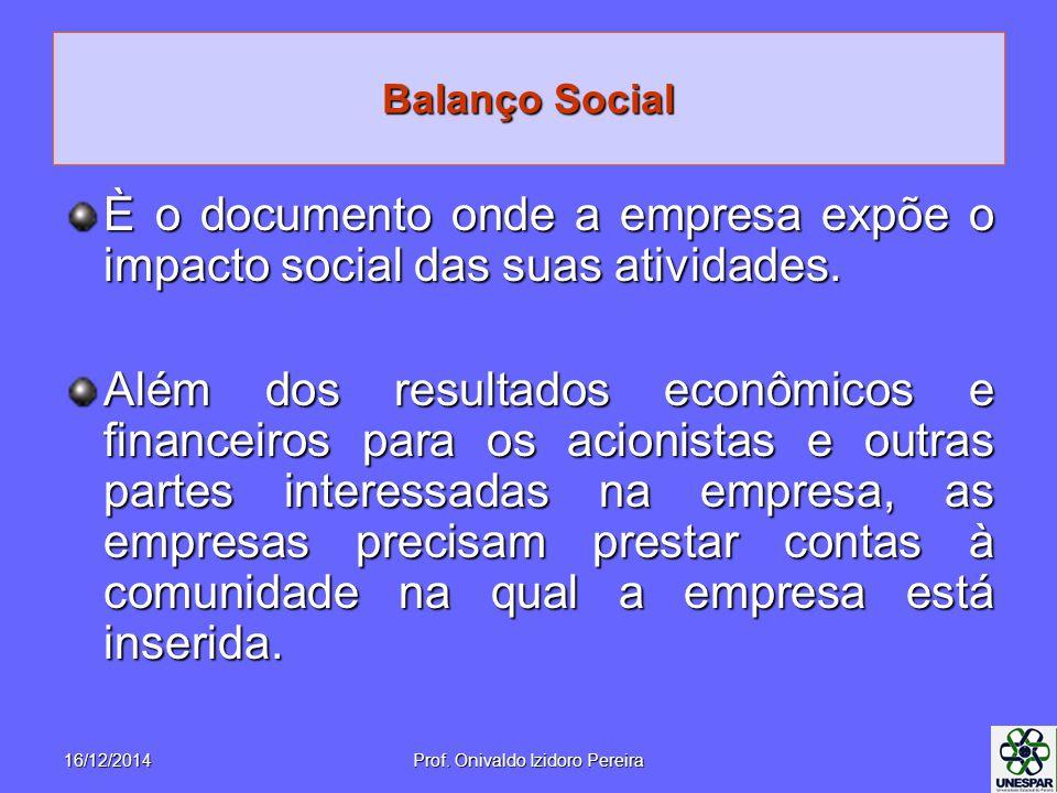 Balanço Social È o documento onde a empresa expõe o impacto social das suas atividades. Além dos resultados econômicos e financeiros para os acionista