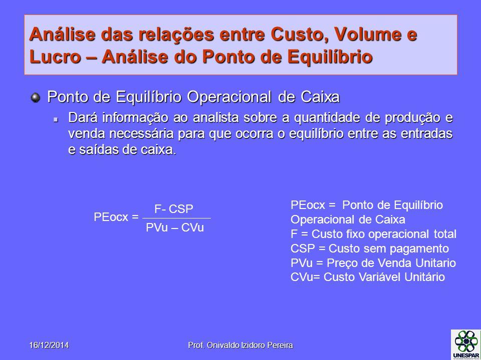 Análise das relações entre Custo, Volume e Lucro – Análise do Ponto de Equilíbrio Ponto de Equilíbrio Operacional de Caixa Dará informação ao analista