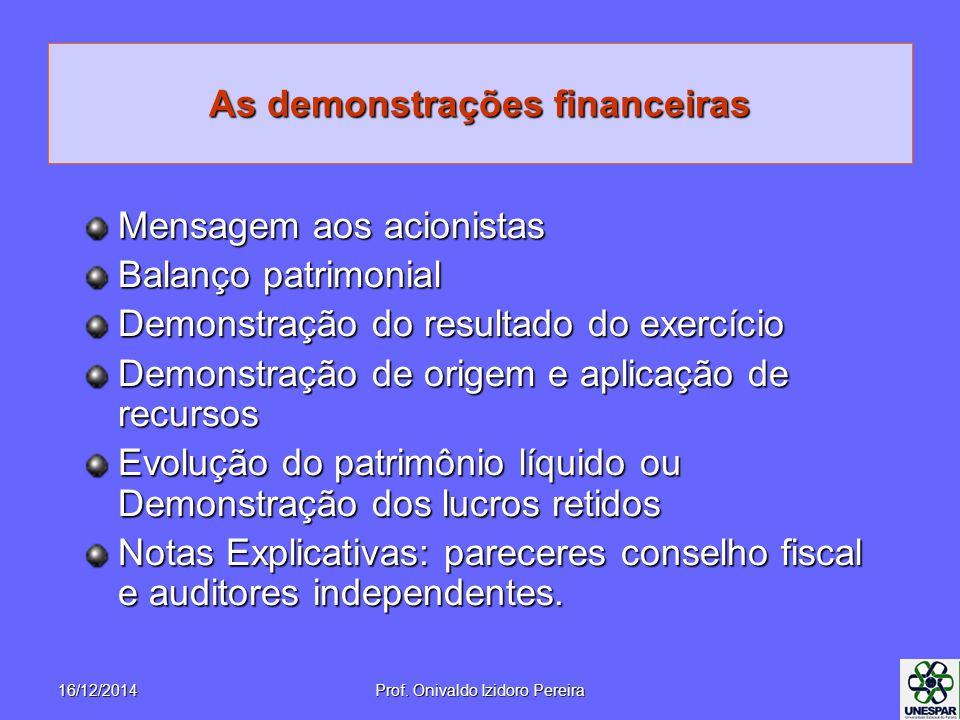 As demonstrações financeiras Mensagem aos acionistas Balanço patrimonial Demonstração do resultado do exercício Demonstração de origem e aplicação de