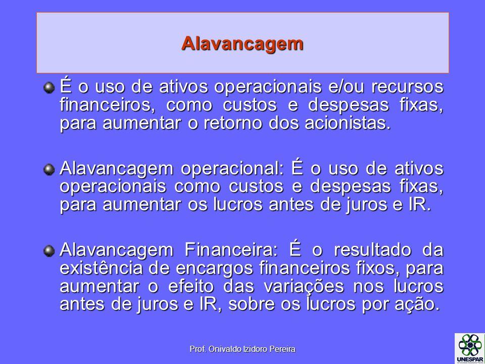 Alavancagem É o uso de ativos operacionais e/ou recursos financeiros, como custos e despesas fixas, para aumentar o retorno dos acionistas.