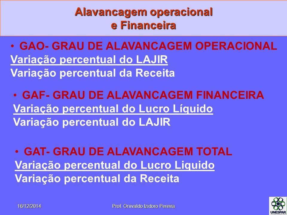 16/12/2014Prof. Onivaldo Izidoro Pereira Alavancagem operacional e Financeira GAO- GRAU DE ALAVANCAGEM OPERACIONAL Variação percentual do LAJIR Variaç