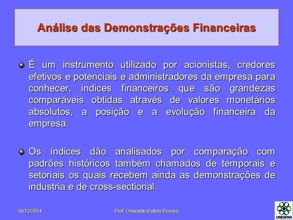 Análise das Demonstrações Financeiras É um instrumento utilizado por acionistas, credores efetivos e potenciais e administradores da empresa para conhecer, índices financeiros que são grandezas comparáveis obtidas através de valores monetários absolutos, a posição e a evolução financeira da empresa.