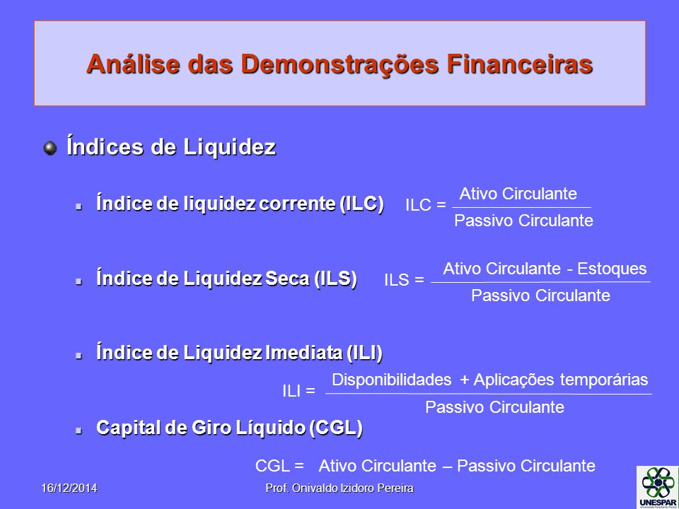 Análise das Demonstrações Financeiras Índices de Liquidez Índice de liquidez corrente (ILC) Índice de liquidez corrente (ILC) Índice de Liquidez Seca (ILS) Índice de Liquidez Seca (ILS) Índice de Liquidez Imediata (ILI) Índice de Liquidez Imediata (ILI) Capital de Giro Líquido (CGL) Capital de Giro Líquido (CGL) ILC = Ativo Circulante Passivo Circulante ILS = Ativo Circulante - Estoques Passivo Circulante ILI = Disponibilidades + Aplicações temporárias Passivo Circulante CGL =Ativo Circulante – Passivo Circulante 16/12/2014Prof.