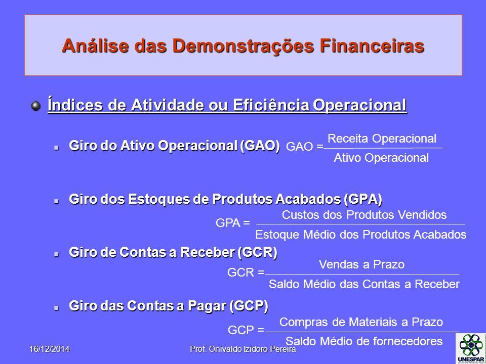 Análise das Demonstrações Financeiras Índices de Atividade ou Eficiência Operacional Giro do Ativo Operacional (GAO) Giro do Ativo Operacional (GAO) G