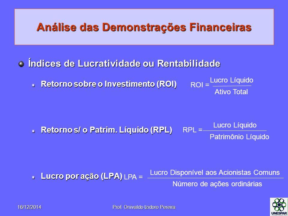 Análise das Demonstrações Financeiras Índices de Lucratividade ou Rentabilidade Retorno sobre o Investimento (ROI) Retorno sobre o Investimento (ROI) Retorno s/ o Patrim.