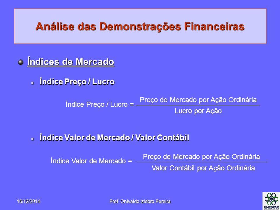 Análise das Demonstrações Financeiras Índices de Mercado Índice Preço / Lucro Índice Preço / Lucro Índice Valor de Mercado / Valor Contábil Índice Valor de Mercado / Valor Contábil Índice Preço / Lucro = Preço de Mercado por Ação Ordinária Lucro por Ação Índice Valor de Mercado = Preço de Mercado por Ação Ordinária Valor Contábil por Ação Ordinária 16/12/2014Prof.